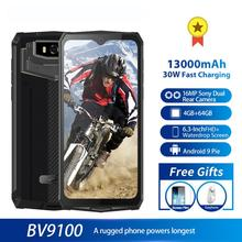 Blackview BV9100 IP68 방수 핸드폰 13000mAH 30W 빠른 충전 4G 휴대 전화 MTK6765 4 기가 바이트 + 64 기가 바이트 16.0MP 견고한 스마트 폰