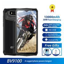 Blackview Móvil BV9100, MTK6765, 4GB RAM+64GB ROM, 13000 mAh, cámara 16MP, teléfono móvil resistente al agua IP68, con carga rápida de 30W