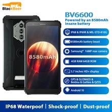 Blackview bv6600 android 10 telefone móvel ip68 à prova dip68 água áspero smartphone octa núcleo 4gb + 64gb 8580mah celular 16mp câmera traseira