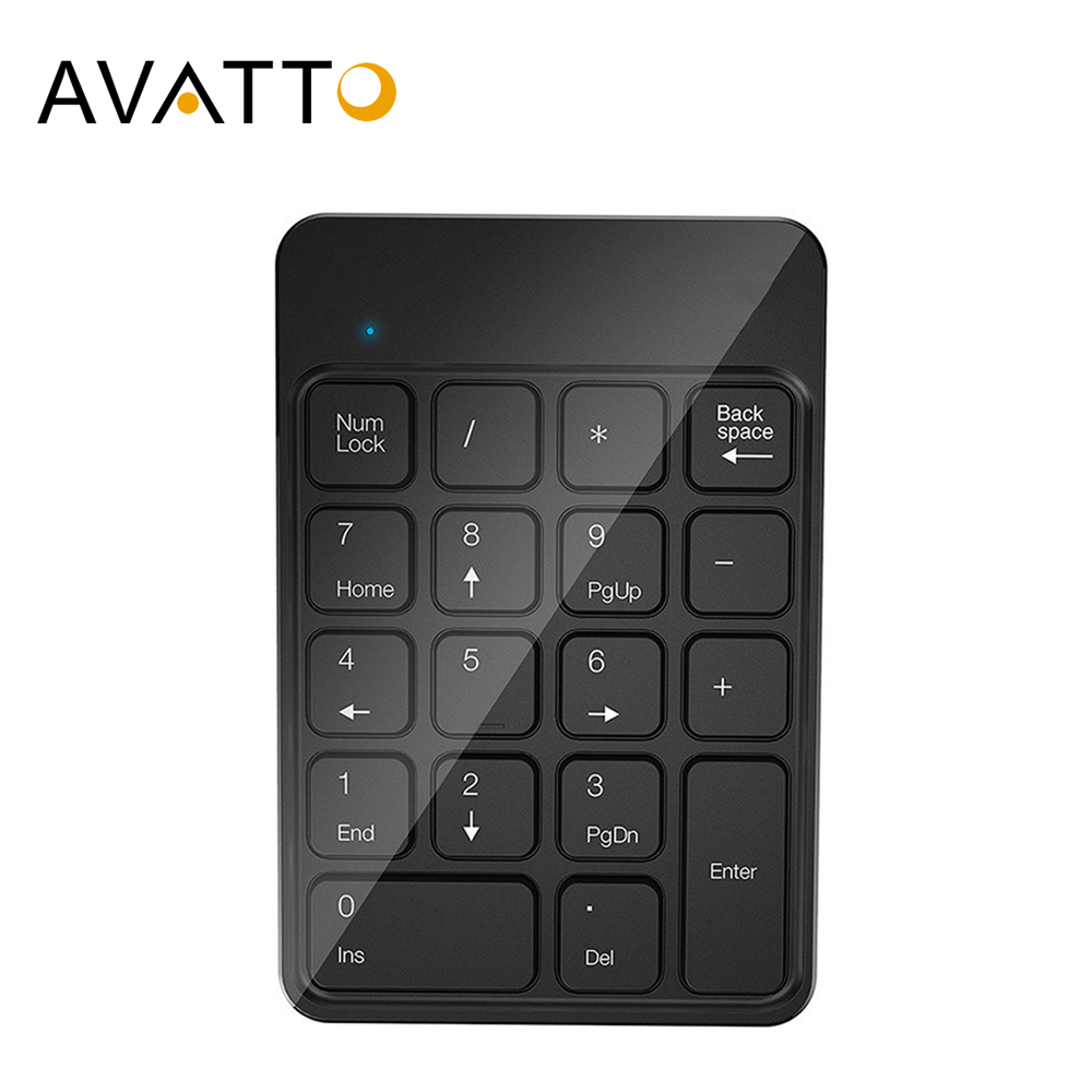AVATTO Rechargable 2.4GHz Wireless USB Numeric Keypad 18 Keys For Digital Keyboard Ultra Slim Number Pad Compute PC Laptop