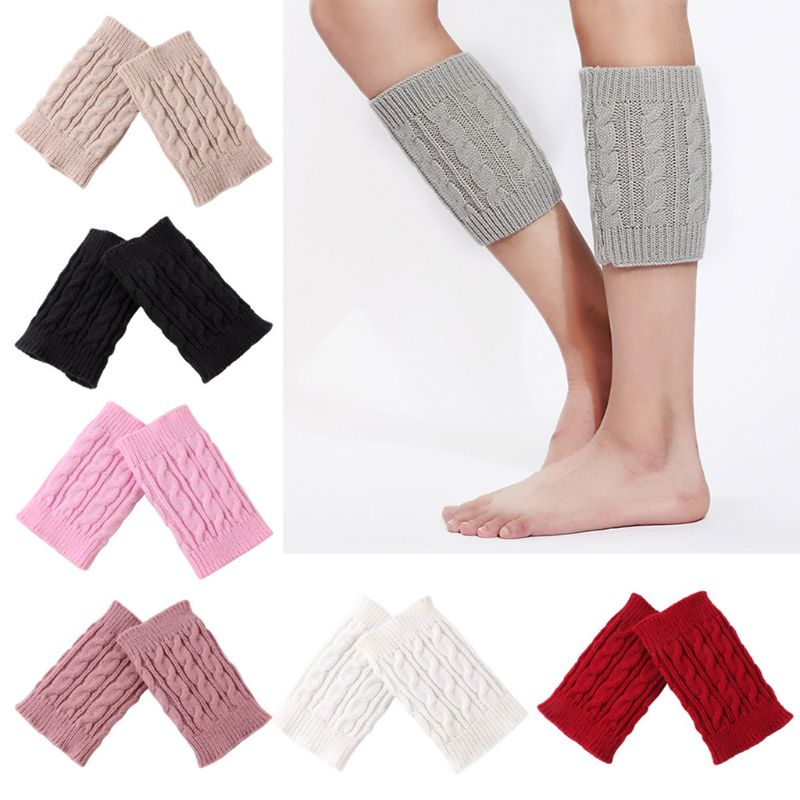 1 Pair Women Girls Winter Autumn Cable Knitted Boot Cuffs Short Leg Warmer Socks