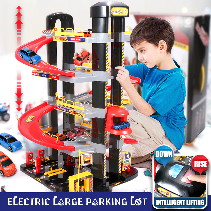 Electric Large Parking With Track Children's Educational Multi-storey Parking Lot Car Garage Track Toy Boy's Birthday Present