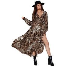купить Sexy Leopard print dress 2019 Summer Deep V neck Long Sleeve Beach Dress Festival Side Split Maxi Dress Robe Vestidos Mujer по цене 2474.99 рублей