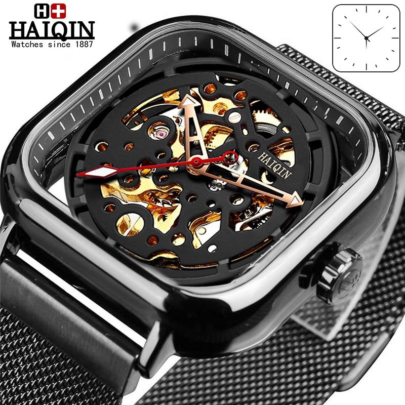 HAIQIN Fashion Sport Mens Watches Top Brand Luxury Square Mechanical Watch Men Wirstwatch Hollow Skeleton Erkek Kol Saati 2019