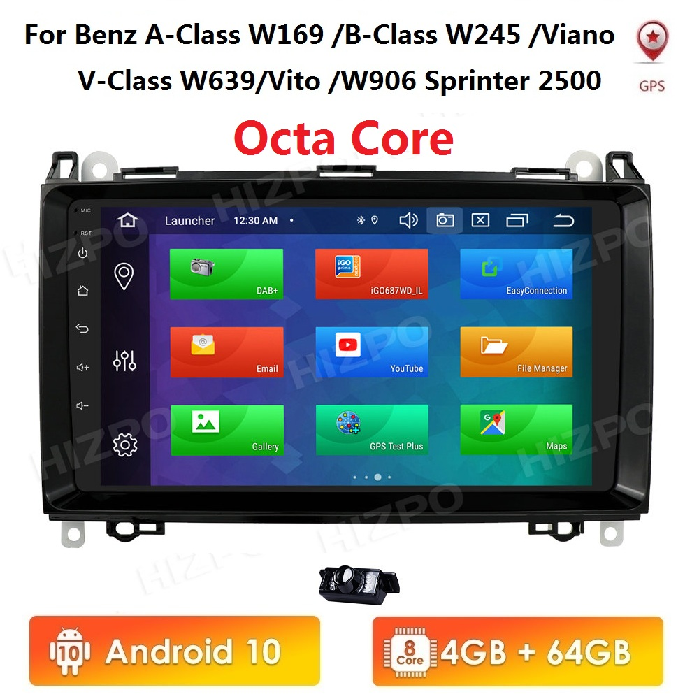<font><b>Android</b></font> 4+64 Car multimedia Player Navigation GPS <font><b>radio</b></font> for <font><b>Mercedes</b></font> <font><b>Benz</b></font> B200 A B Class <font><b>W169</b></font> W245 Viano Vito W639 Sprinter W906 image