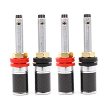 цена на 4 pcs Rhodium Plated Speaker AMP Terminal Carbon Fiber Binding Post audio speaker terminal