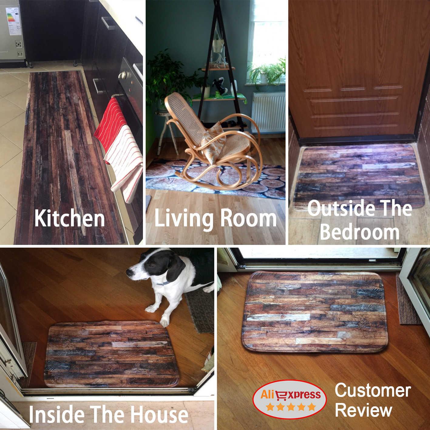 幾何木目キッチンマットフロアマットカーペットドアマット玄関ノンスリップ床の敷物リビングルームキッチンラグカーペット