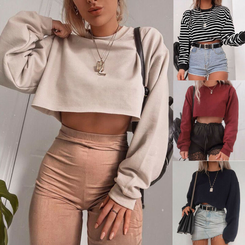 <font><b>Womens</b></font> Autumn New Chic Crop Tops <font><b>Long</b></font> Sleeve Tee Top Round Neck Slim Solid Color A-Line Hem <font><b>T</b></font>-<font><b>Shirts</b></font> Casual <font><b>2019</b></font> New image