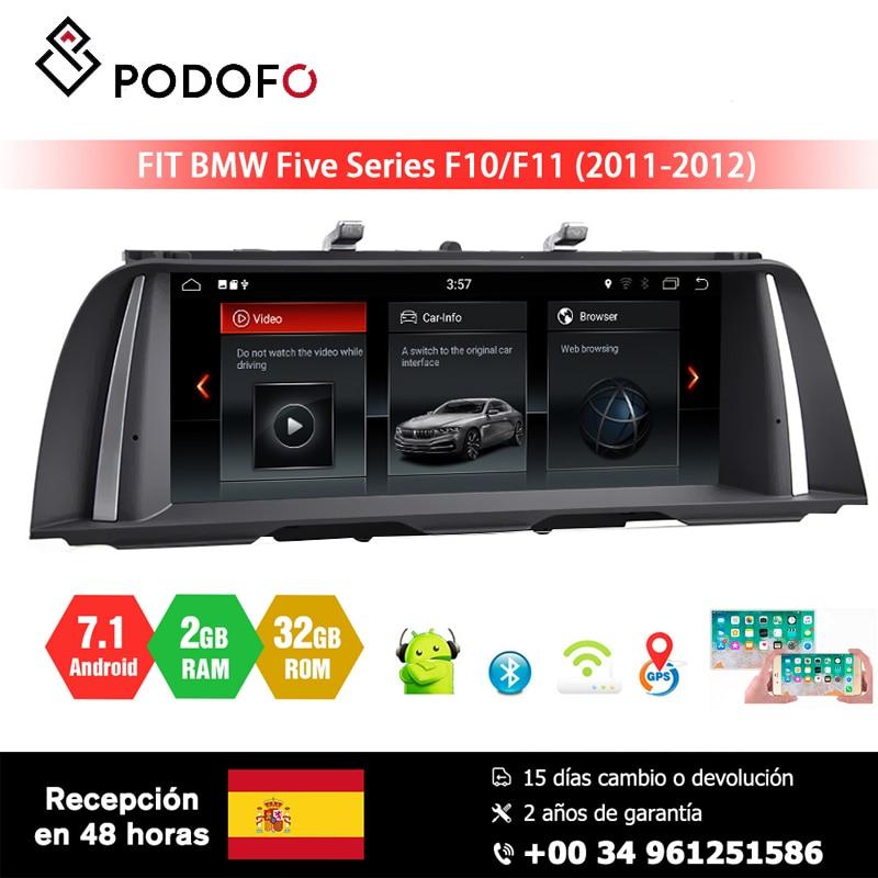 Podofo lecteur multimédia de voiture Android 7.1 pour BMW série 5 F10/F11 (2011-2012) système CIC 10.25