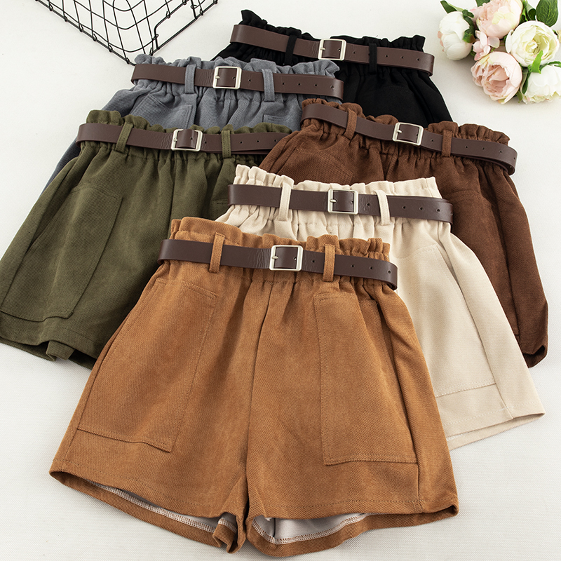 Leg-Shorts Trouser Pocket Bottoms Khaki Black Vintage High-Waist Wide Winter Fashion title=
