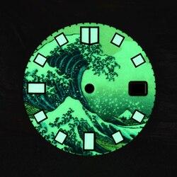 Thunfisch 6105 62MAS Uhren zifferblatt Buchstäblich Volle Leucht Kanagawa Surfen Zifferblatt 28,5mm Durchmesser Universal ersatz Zifferblatt