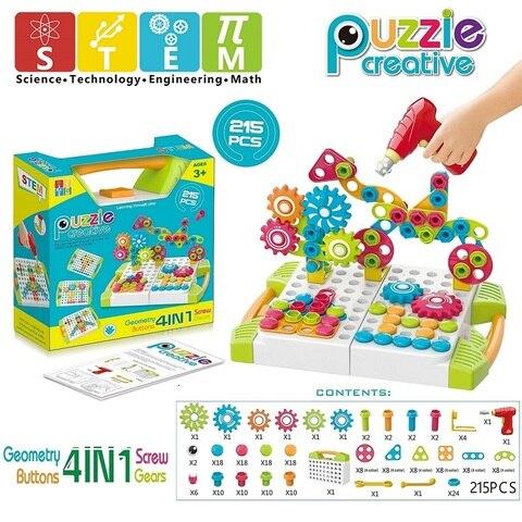 placa de peg para criancas brinquedos broca blocos de engrenagens construcao brinquedo cogumelo prego botao