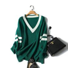 Кашемировый женский свитер большого размера с v образным вырезом