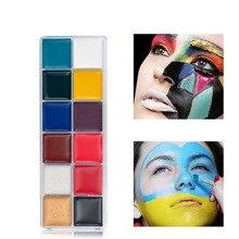 12 цветов тело лицо окрашенные Хэллоуин Макияж Лицо краска макияж флэш татуировочная щетка фестиваль Кубок мира тело живопись игра клоун