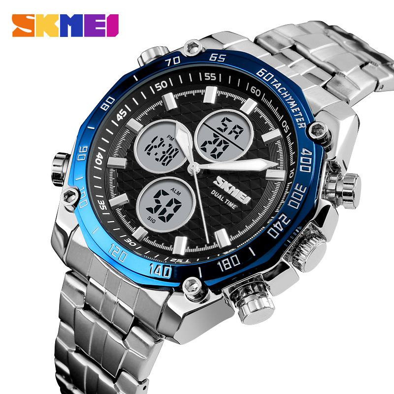 New <font><b>SKMEI</b></font> Men Watch Full Steel Quartz Men's Wrist Watches Military Dual Display Waterproof Sports Digital Male Clock for Men image