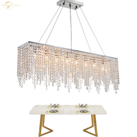 Luxury Crystal Chandeliers Lighting Modern Metal LED Square Lustre Pendant Lamp Home Decoration for Living Room Bedroom Villa