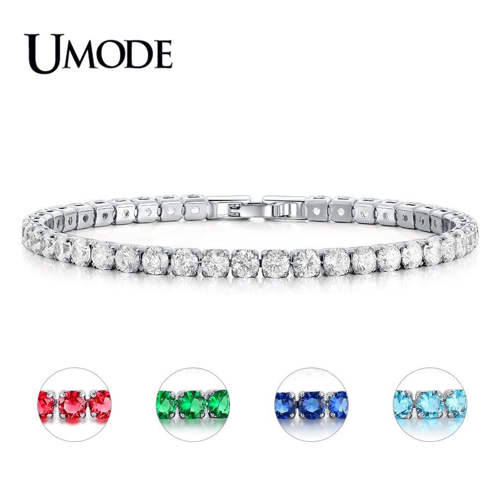 UMODE Fashion Charm CZ Tennis Bracelets for Women Men Colorful Zircon Jewelry Box Chain Braclets Gift Bracelet Pulseira AUB0097X