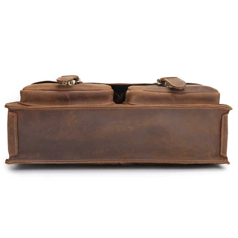 Ngày Của Cha Tặng Nam Vintage Thật Da Ngựa Cặp Vai Messenger Danh Mục Đầu Tư Laptop Túi Túi Xách Tay 1061