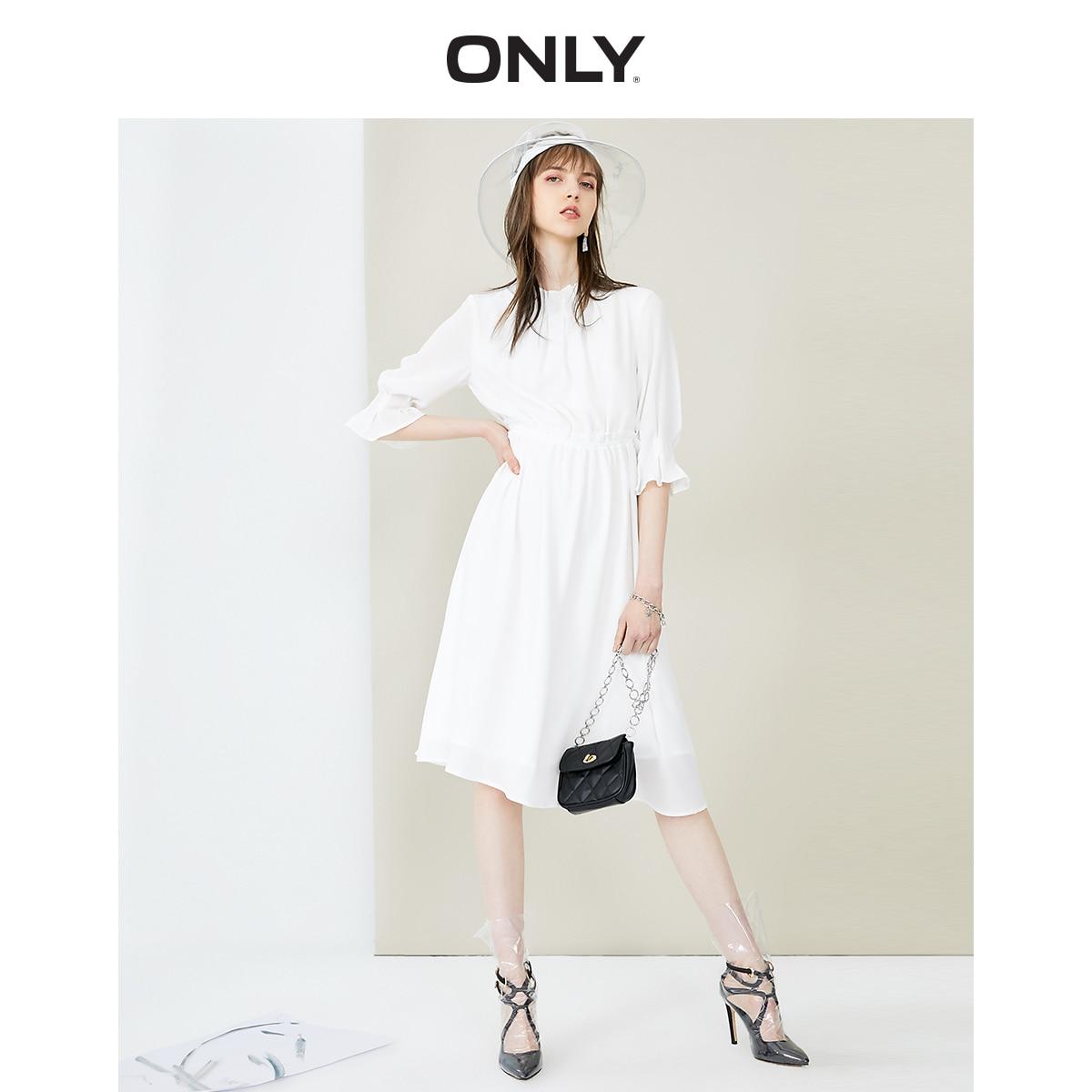 ONLY Women's Elasticized Wait A-lined Chiffon Dress | 119107716