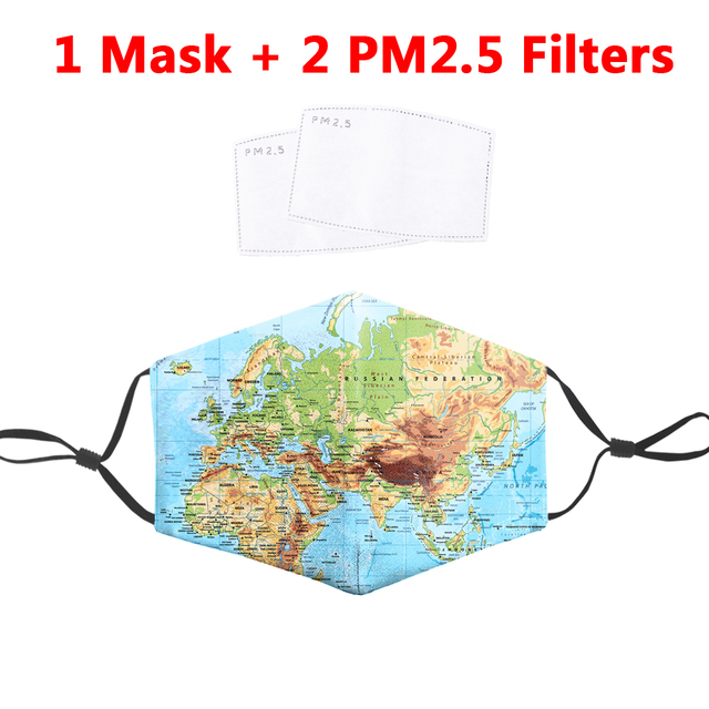 World map Asia Europe Africa 3D Printed Mask Washable Fabric Face Masks Reusable PM2.5 Filter Mask Dust Proof Flu Masks Adult