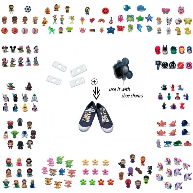 Cartoon PVC Shoe Charms Avenger Mickey JIBZ&Shoelace Animal Flower Unicorn Buckles Shoe Accessories For Casual/Sports Shoes Gift