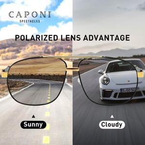 Image 2 - CAPONI 2020 männer Sonnenbrillen Fahren Polarisierte Brillen Marke Vintage Platz Anti Ray UV Schützen Sonnenbrille Für Männer CP0960