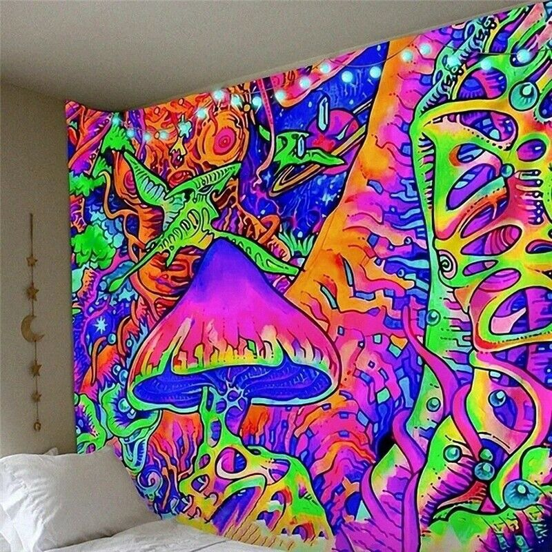 Hippie Tapestry Trippy Mushroom Tapestry Wall Hanging Art Psychedelic Tapestries