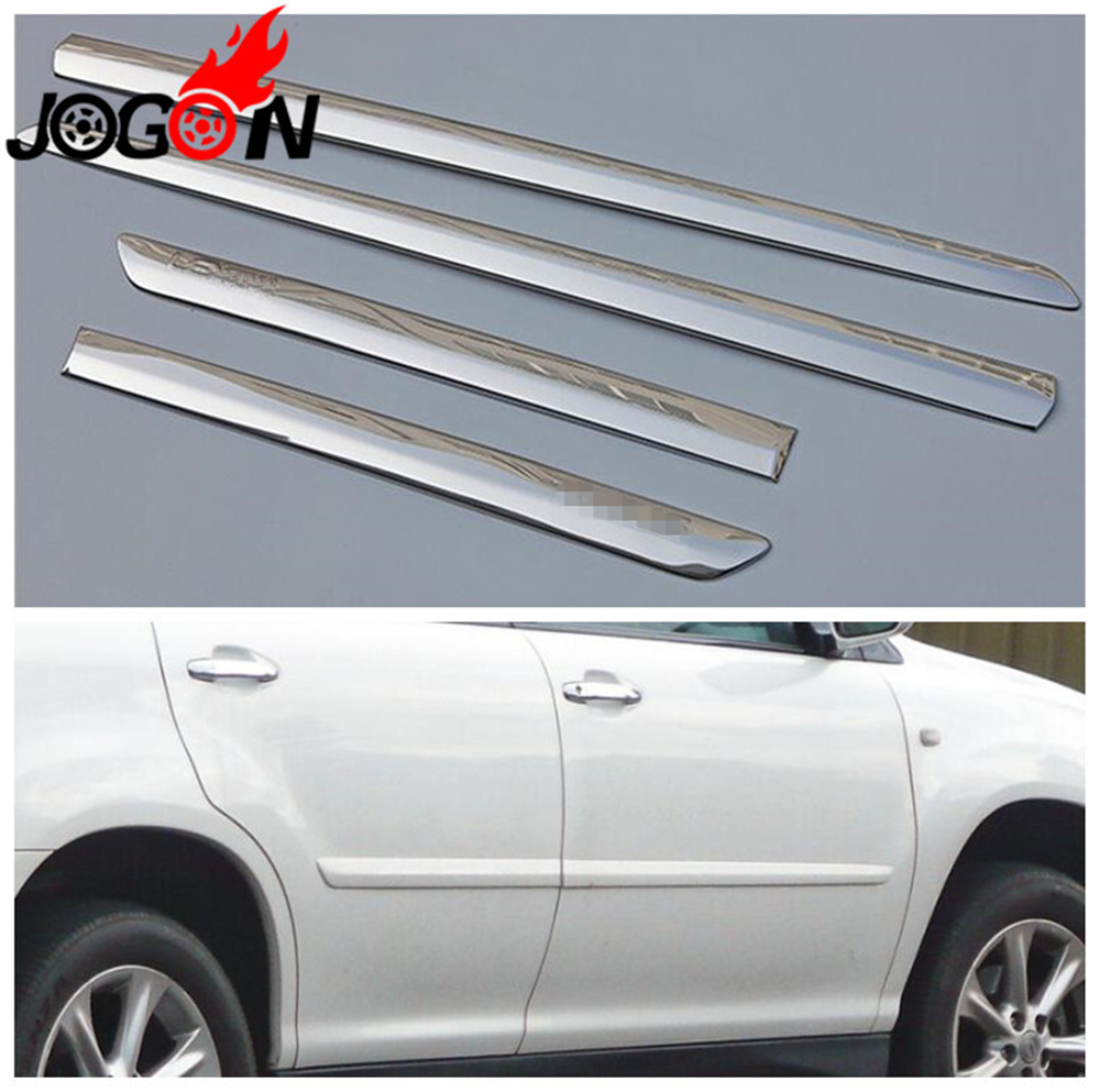Car Styling 4pcs Stainless Steel Door Body Side Trim Cover Molding For LEXUS RX XU30 RX300 RX330 RX350 2003-2008 Accessories