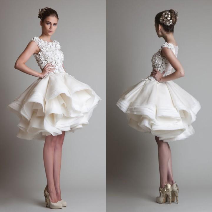 New 2014 Princess Knee Length Layered Organza Ruffles Wedding Gowns Appliqued Sheer Back Short Wedding Dress