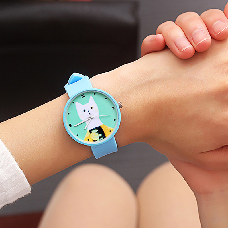Cartoon White Cat Children Watches Fashion Color Women Quartz Watches For Kids Boys Girl Child Wrist Watch Child Clock Gifts