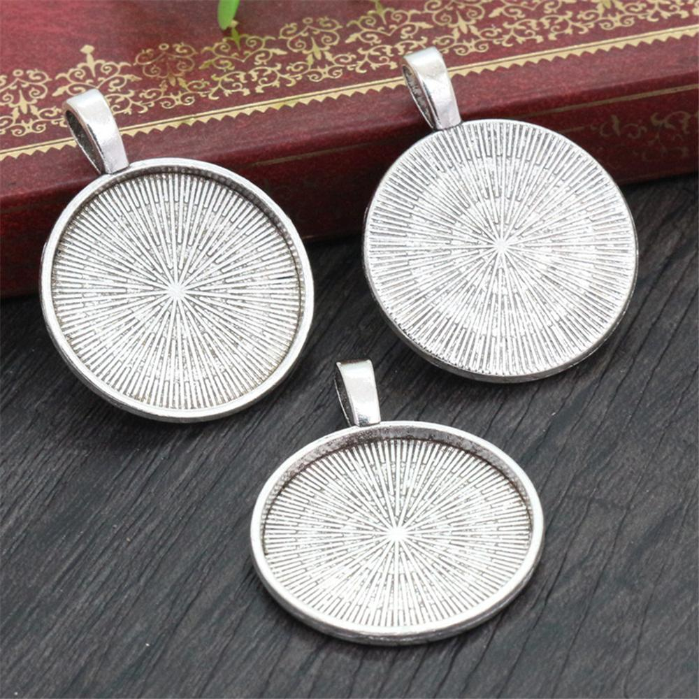 New Fashion 10pcs 25mm Inner Size Antique Silver Classical Cabochon Base Setting Charms Pendant (A6-16)
