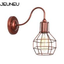 Lámpara de pared de marco de hierro de estilo portugués de la industria Retro E27 LED óxido y luz de pared Vintage negra para la lámpara del desván del pasillo del café del restaurante