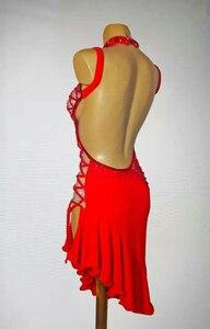 Image 3 - สีแดงละตินการแข่งขันเต้นรำกระโปรงผู้หญิงคุณภาพสูงProfessional Sambaละตินเต้นรำเลดี้Rumba Latin Dance DRESS