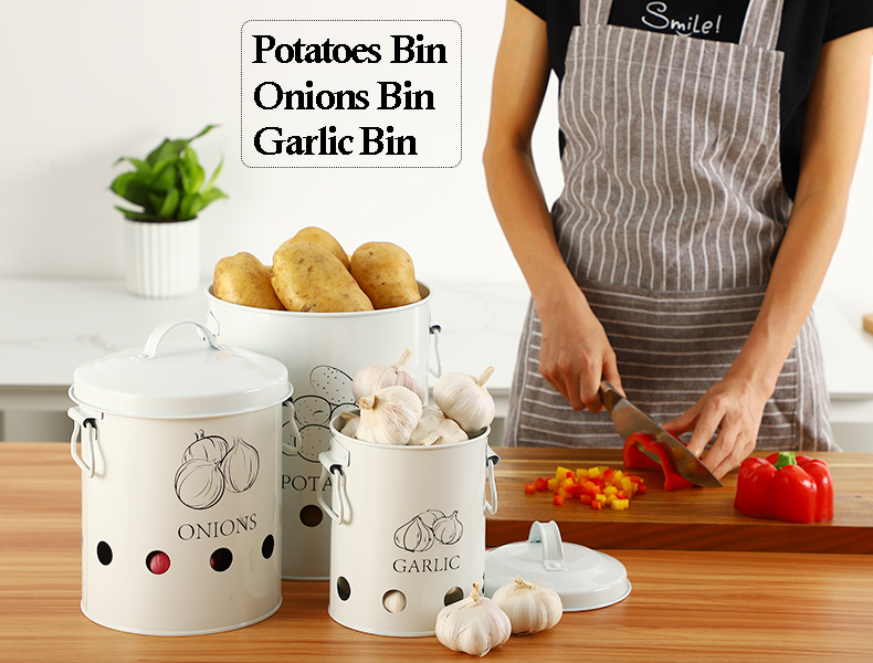 Breathable Kitchen Container Set and Food Storage Bins with 2 Handles for Storing Potatoes and Onions 6