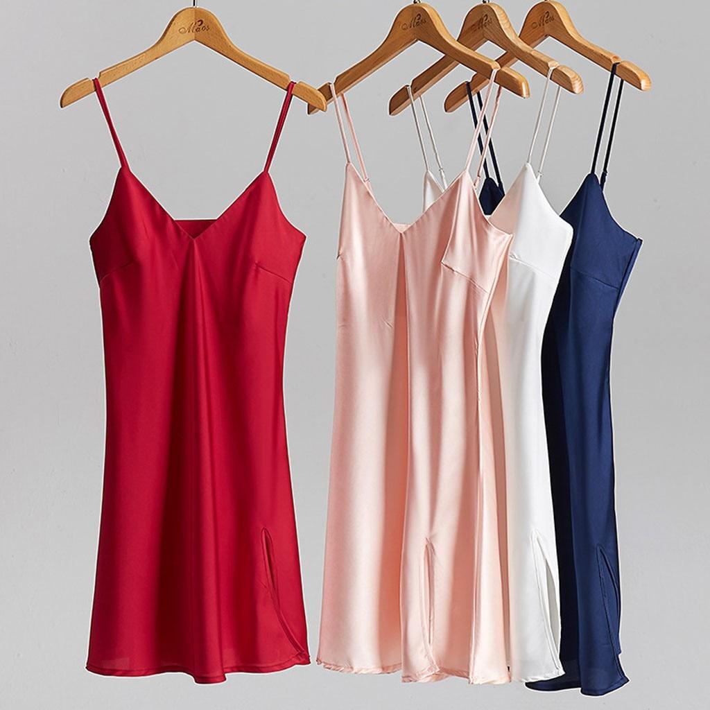 Sexy Satin Silk Nightdress Women's   Nightgown   Slips Strap V-neck Sexy Sleepwear Nightwear Femme Solid   Sleepshirts   Dressing Gowns