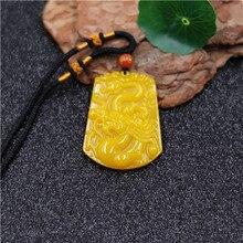 Торговля китайский желтый Нефритовый дракон Нефритовое ожерелье из бисера Шарм ювелирные изделия Модные аксессуары ручной резной человек удача амулет