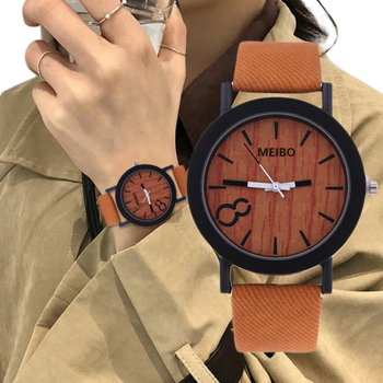 2020 NEW Women Watch  Fashion Analog Wood Grain Dial Casual Leather Band Watches Popular Quartz Clock Wristwatches reloj mujer