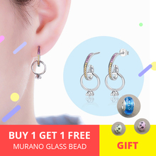 StrollGirl 100%925 Sterling Silver Color CZ Hanging Stud Earring Fashion Lady Ring Earring Fine Jewelry Party Gift Free Shipping цена