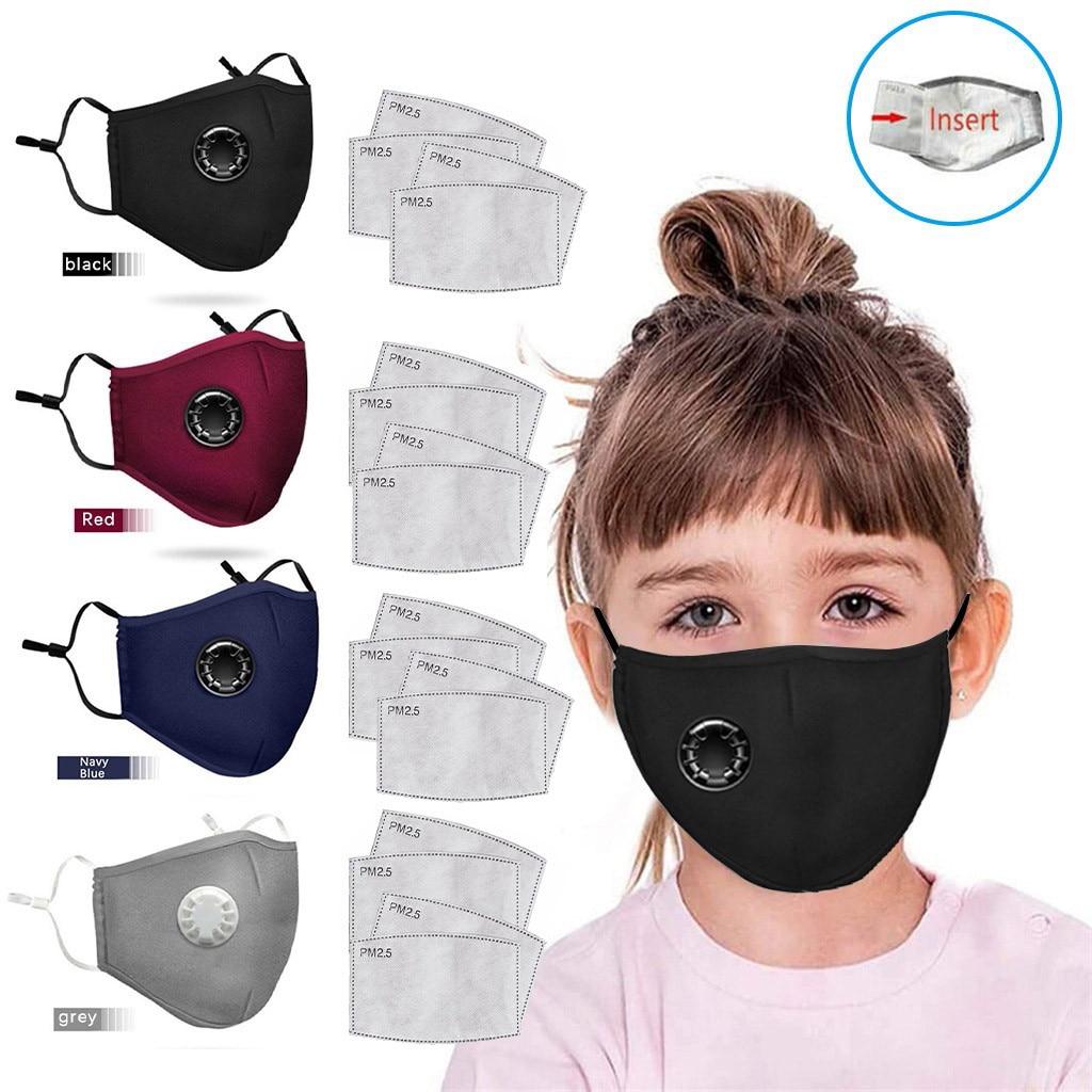 4PCS Face Breathable Mouth Face Maske 3D Breathing Valves Children Kids Reusable Washable Proof Anti-Dust Maske Fast Shipping