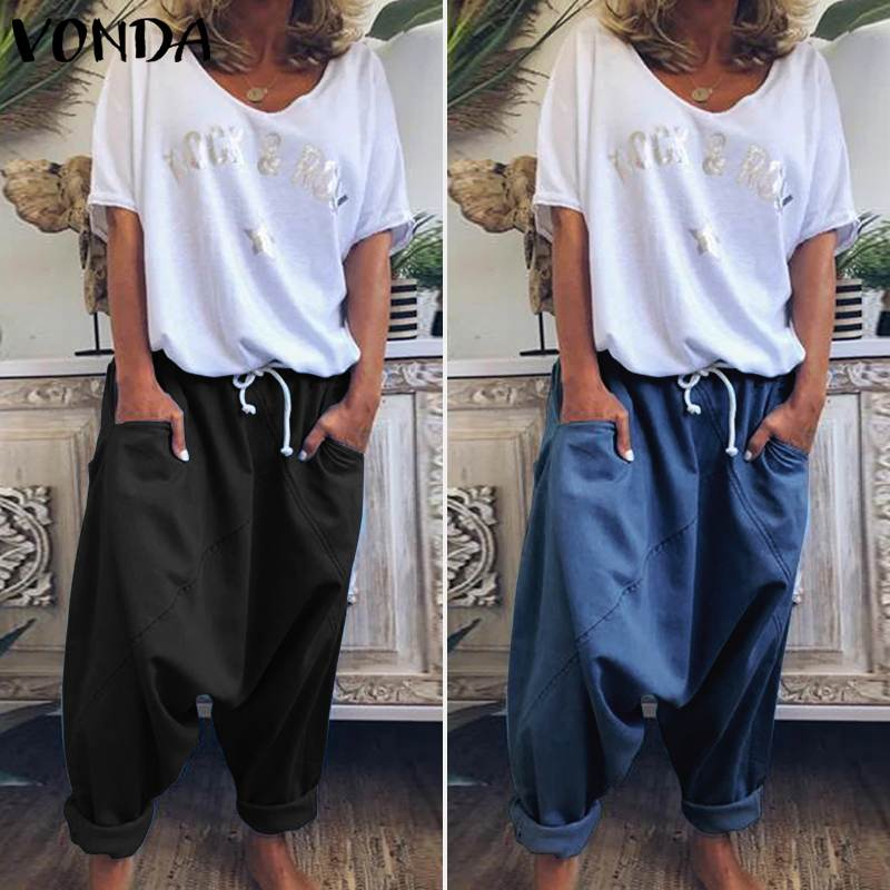 VONDA Harem   Pants   Trousers Pantalon Demin Solid Color Women's Trousers Plus Size   Wide     Leg     Pants   Bohemian Summer Bottoms Overalls