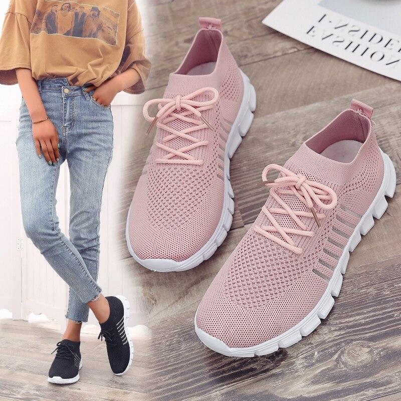 Женская обувь; большой размер 43; женская обувь из Вулканизированной Ткани; модная обувь без шнуровки; женские кроссовки из сетчатого материала; повседневная обувь на плоской подошве; tenis feminino