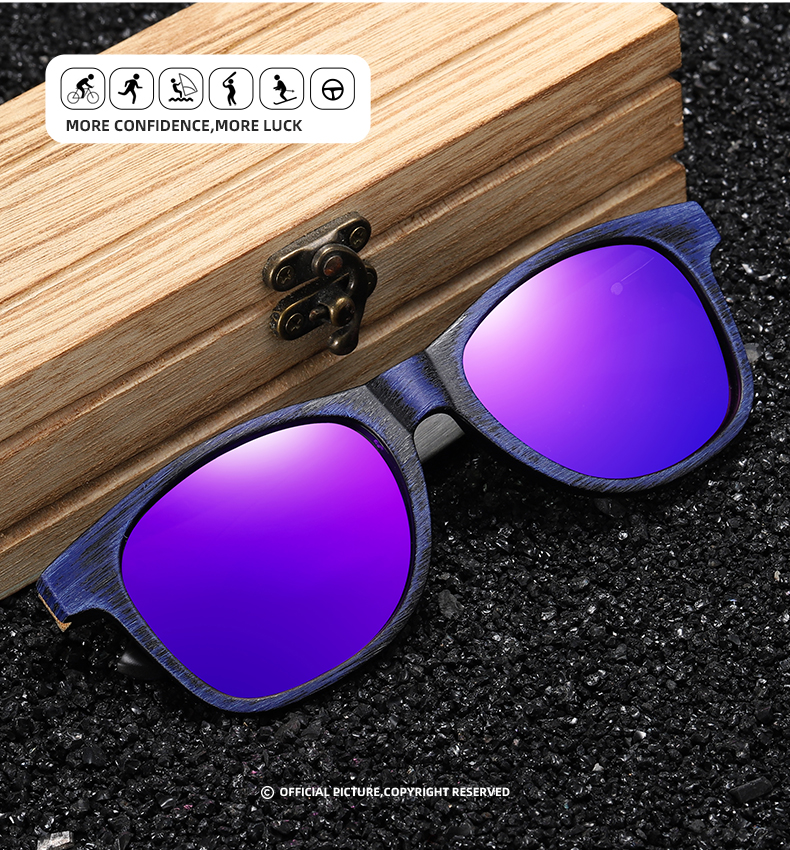 GM Handmade Bamboo Wood Polarized Sunglasses