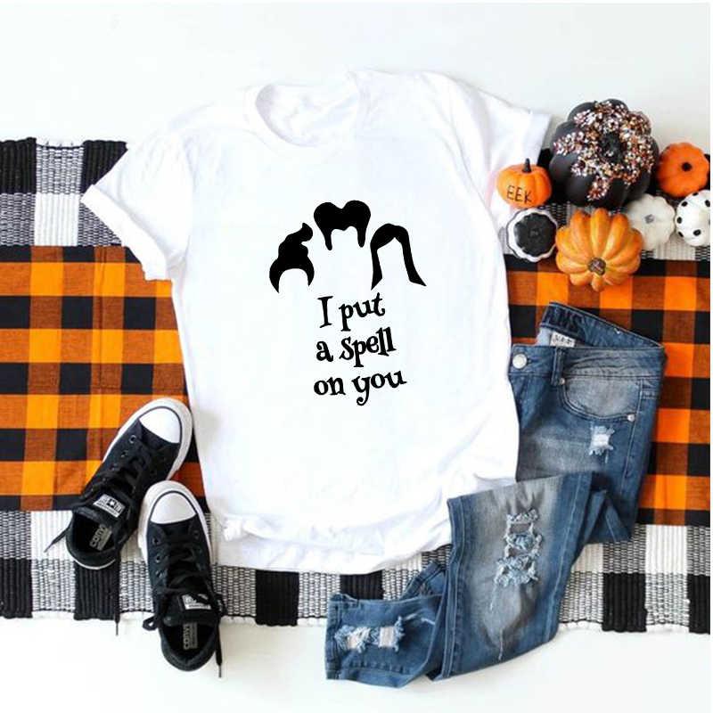 Showtly Halloween Mulheres Camiseta Equipe Hocus Pocus Objetivos Ulzzang Irmãs Horror Gótico Do Vintage de Manga Curta Top Dropshipping