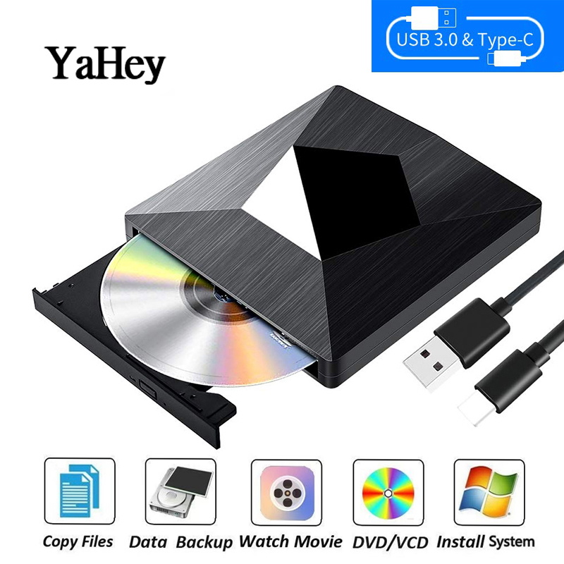 YAHEY 2019 USB 3.0 Type C External Drive CD/DVD RW Burner optical Writer Player for Apple Mac book Pro Air Laptop Windows Drives