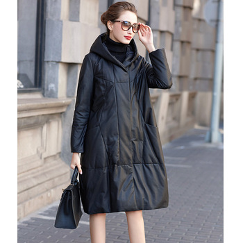 Genuine Leather Down Jacket Womens Brand Long Sheepskin Hooded Outerwear Casual Medium Length Black Coat