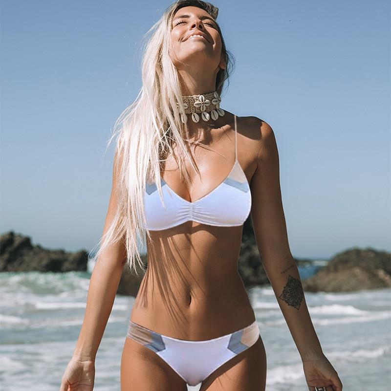Women Patchwork Bikinis Sexy Print Swimsuit Swimwear New Low Waist Bathing Suit Female Summer Halter Beachwear Biquini