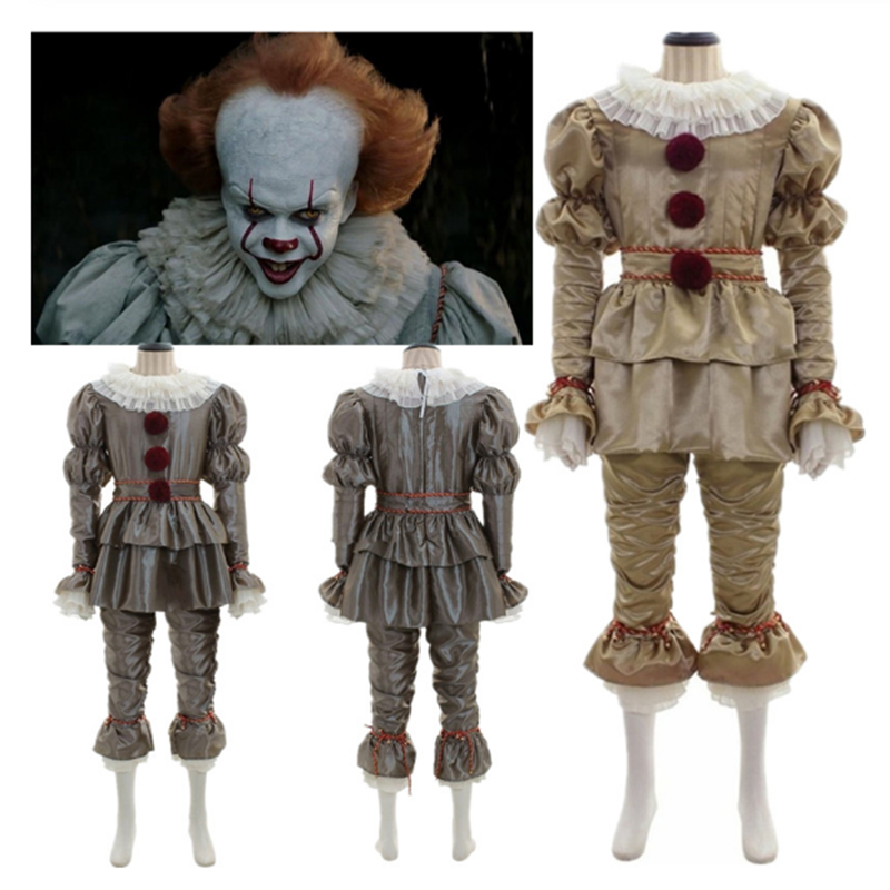 Movie It: Chapter Two Pennywise Cosplay Costume Killer Clown Halloween Canival Costumes Gloves Mask Adult Kids