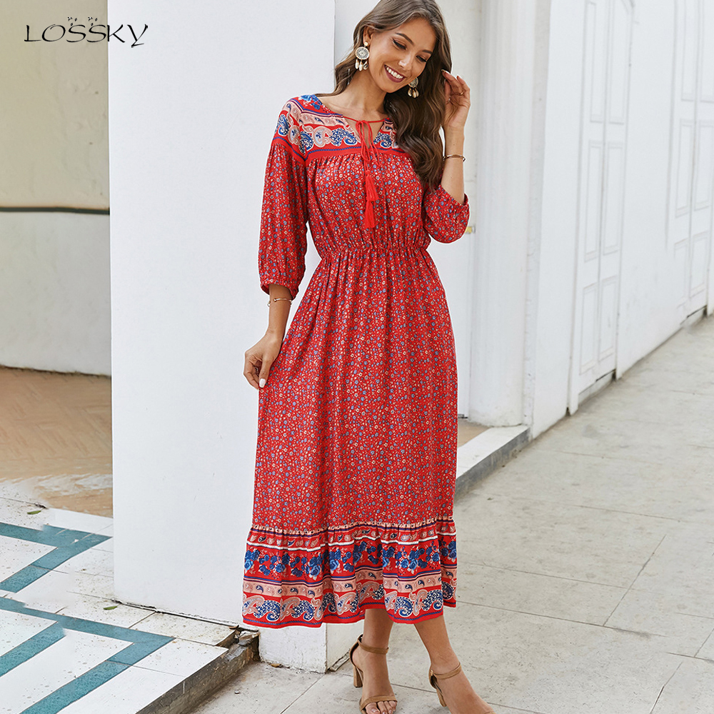 Boho Dress Women Bohemian Floral Print Summer Spring Black Midi Sundress  Casual Ladies Bow Flower Fitted Long Clothing Red 5