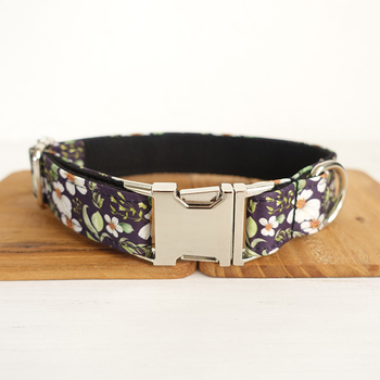 Pretty dog collars and leashes set 5 sizes Handmade soft pet accessory THE CHRYSANTHEMUM UDC044 image