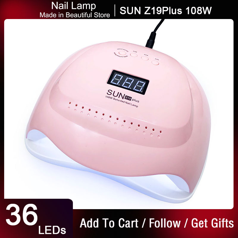 SUNZ 19 Plus UV LED Nail Dryer 108W Gel Polish Curing Lamp with Bottom Timer LCD Display Quick Dry Lamp For Nails Manicure Tool